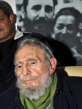 Cuba's former president Fidel Castro attends the inauguration of the Cultural Center, Studio Kcho Romerillo, Laboratory for Art, in Havana